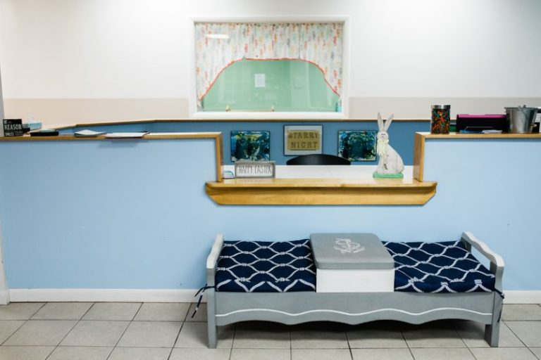 Simple kid friendly waiting area preschool office at a Childcare Serving Branford, Cheshire, Wallingford, CT